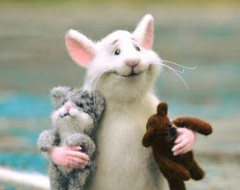 Rat and cat Rat with fingers Rat and bear White rat Felt rat Doll rat Doll mouse Cute rat Cute mouse Rat and bear Mouse with fingers Cat Rat