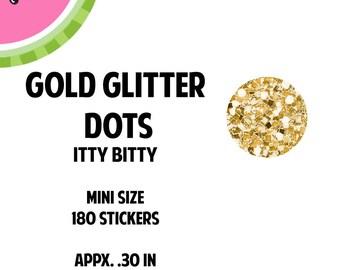 ITTY BITTY Gold Mini Glitter Dots Stickers | Faux Glitter | 180 Kiss Cut Stickers | 0.30 inch | IB050