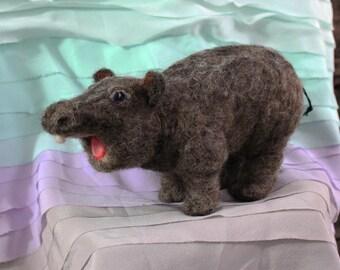 Needle Felted Baby Hippo, Needle Felted Baby Hippopotamus, Potamus