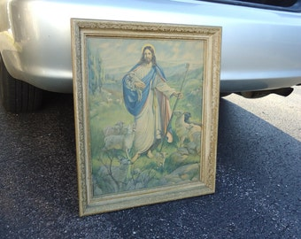 Vintage Jesus lords picture Litho print,jesus with lambs/flock of sheep old Gods picture framed religious gift