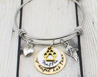 Gold Pet Memorial Bracelet - Custom Pet Memorial Jewelry - Dog Memorial Bracelet - Cat Memorial Bracelet - Hand Stamped Pet Loss Bracelet