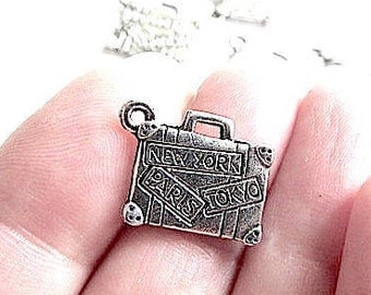 10 Suitcase Stamped Double Side Charms 15mm x 12mm Silver Tone New York Paris Tokyo Hong Kong Moscow Travel Pendants Zinc Alloy CS-0806