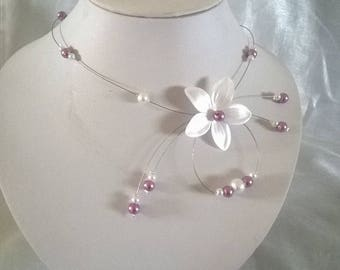 White Pearl satin flower bridal wedding necklace white / purple lavender holiday evening ceremony