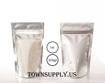 50 - 1 oz clear poly stand up pouch with silver foil lined back, food safe packaging supply, small resealable ziplock bags, coffee favor bag