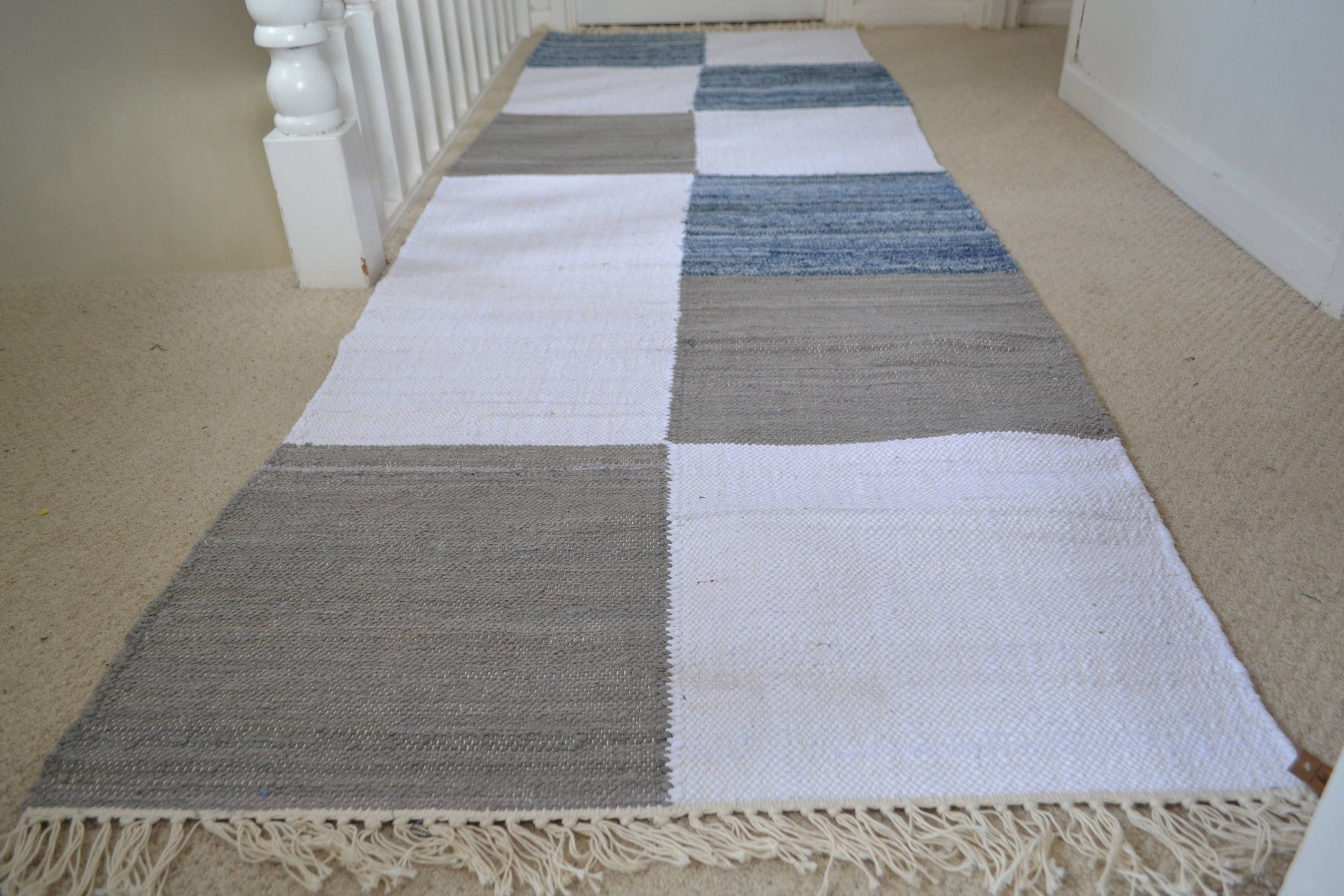 Grey And White Carpet Runner: Unique Denim Rug Mat Runner Grey White Blue Cotton Woven 80cm