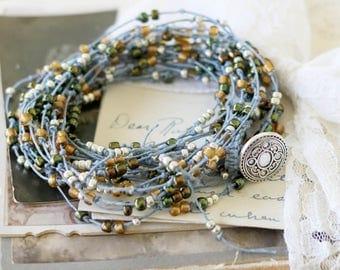 Boho Wrap Bracelet - Multi Strand Necklace - Bohemian Jewelry - Beaded Necklace - Bracelet for Wife - Everyday Bracelet - Knotted Necklace