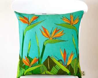 """Tropical bird of paradise flower cushion cover, fits 20"""" x 20"""" pad"""