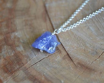 Raw Tanzanite Necklace // Sterling Silver // Crystal Energy // Psychic Abilities // Calming // Anxiety // Brings Wholeness // Heart Chakra