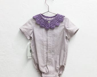 Body baby striped romper lilac and woven.