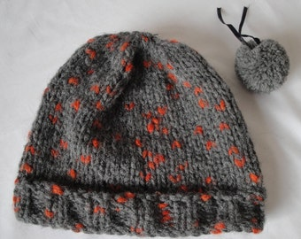 grey knit bobble cap, chunky gray beanie, woman slouchy hat, winter pompom beanie, unisex knitted cap, gray and orange hat, bulky knit cap