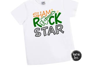 Sham Rock Star Shirt - Unisex Kids' Shirts - St Paddy's Day Shirts - Funny Holiday Tees - Luck of the Irish - Sham Rock n' Roll