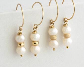Gold Pearl Earrings, Wedding Earrings, Bridesmaids Earrings, Pearl Drop Dangle Earrings, 14k Gold Fill, Rose Gold, Silver, Gift for Her,E206