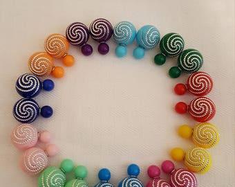 Double Pearl Earrings - Silver Swirl Double Pearl Earrings - Stud Earrings - Silver Swirl Earrings -Colorful Stud Earrings-Colorful Earrings
