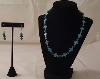Turquoise Stone Cross & Gun Metal Jewelry Set - Turquoise Cross Necklace - Turquoise Necklace - Cross Necklace - Stone Necklace - Turquoise