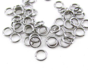 50pcs, 6mm Stainless Steel Jump Rings, 18ga, Stainless Jump Rings, Stainless Steel Jumprings Open Round Jump Rings Connectors, Chainmaille