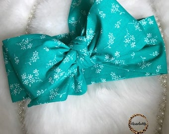 TURQUOISE FLORAL head wrap; fabric head wrap; big bow headwrap; headwraps; newborn headwraps; toddler head wrap; baby head wrap