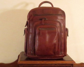 Vintage Korchmar Graham Backpack In Brown Leather- Originally Produced As A Sample Backpack - Excellent Condition