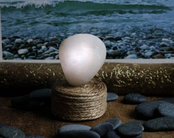 Small Night Light - Quartz Beach Stone - Battery Operated Light - Tea Light - Flameless Candle - Meditation Altar - Table Centerpiece