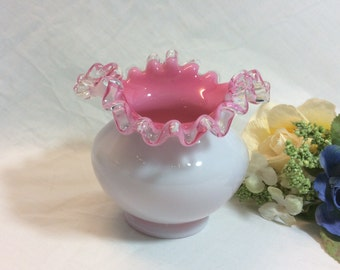 Vintage Fenton Peach Crest White Milk Glass Double Crimped Tri- Corner Rose Bowl Vase 1950's Mark in the Finish!