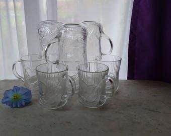 Set of 4 Arcoroc Clear Glass Caterbury Pattern Coffee Mugs