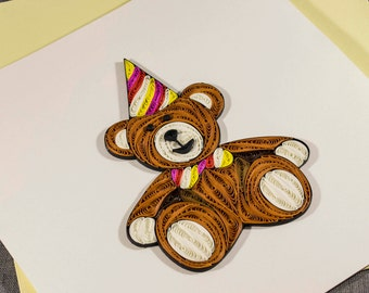 3D Blank Quilled Card Handmade Card Happy Birthday Teddy Quilling Card