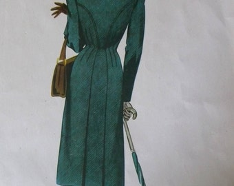 French Vintage Fashion Plate/Print. Iconic Original Print from the 50's.