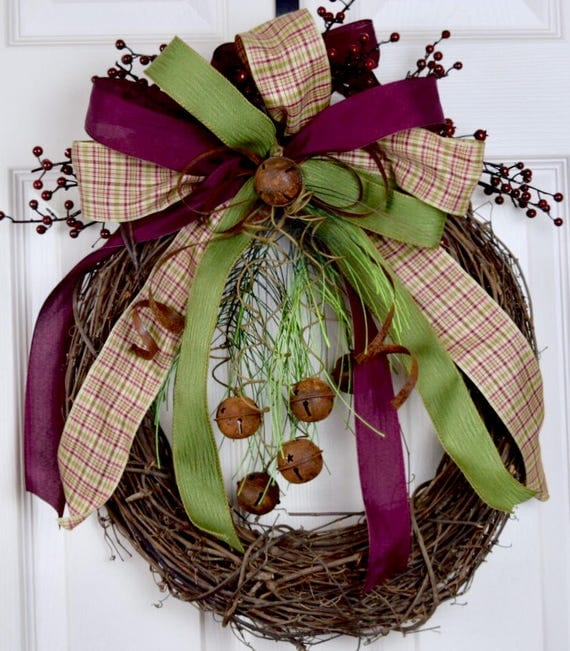 Rusty Bells and Bow Christmas Grapevine with Pine Swag and Burgundy Berries; Primitive Rustic Country Winter Holiday Door Decor Wreath