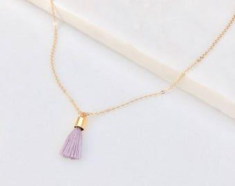 Tiny Tassel Necklace  |  Simple Tassel Charm  |  Minimalist Jewelry