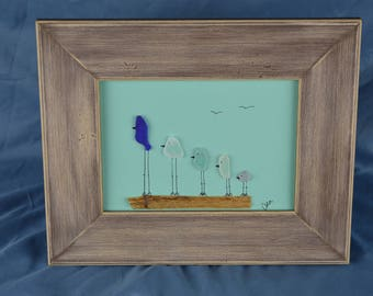 Bird scene made from colored seaglass, 8.5in x 10.5in framed seaglass art, coastal decor,, color, beach house, family of 5 birds