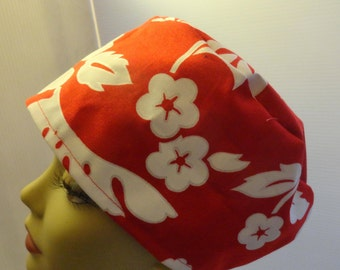 ladies scrub hat, surgical hat, chemo hat, white hibiscus on red, Hawaiian, tropical, long or short hair, elastic in back, FREE US SHIPPING