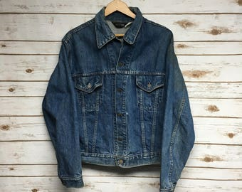 Vintage 60's JCPenney denim jacket faded distressed stained Made in USA Union Made hippie jean jacket 2 pocket JC Penney - Large/Medium