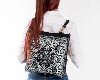 Ukrainian embroidery on Black canvas tote / Canvas tote black / Canvas backpack / Embroidered backpack / Ukrainian souvenir / Ukrainian gift