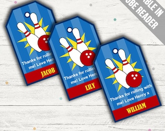 Bowling Party Favor Tags (Bowling Thank You Tags). Printable PDF (EDITABLE). Instant Download.
