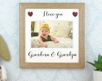 Grandparents picture frame, Photo frame. Gift for Grandma, Grandpa or any title,  I or we love you....