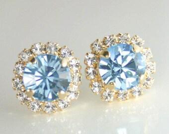 Aquamarine Rhinestone Crystal Earrings  March birthstone Aqua Blue Earrings. Ice Blue Sparkly Earrings, Light Blue Bridesmaid Jewelry Gift