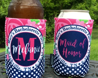 Custom Bachelorette Wedding Party insulated can / bottle coolers - Personalized - Pink Floral with Navy Polka Dot Accents