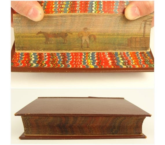 1857. Fore-edge painting of jockey and horse. Charles Wheatly on Book of Common Prayer.