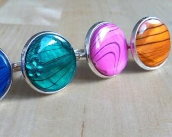 Mother of Pearl adjustable bracelet, ring or resin imitation dragon veins