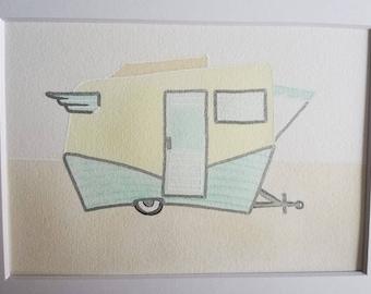 Vintage camper original watercolor painting