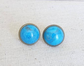 Turquoise Bronze Studs, Turquoise Dyed Howlite Studs, Bronze Earring Studs, Blue Studs, Gemstone Studs, Earring Studs, Gift for Her