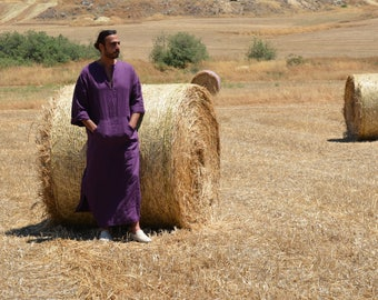 AUBERGINE mens simple pure linen caftan. Softened fabric. Front pocket Tunic.