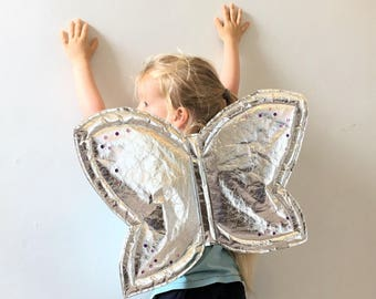 Kids Fairy Wings, Silver Wings, Dressing Up Costume, Kids Fancy Dress, Kids Pixie Wings, Childrens Cosplay, Toddler Costume, Childrens Gift