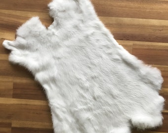 10x WHITE Rabbit Skin Fur Pelt Tanned for crafts, fabric, LARP, animal training, dummy, soft furnishing, fly tying, toys, fashion, TR10