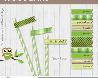 Woodland Party Straw Flags | Woodland Party Decorations | Forest Straw Flags | Instant Download, Edit Text in Adobe Reader