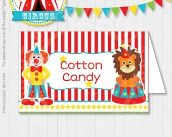 CIRCUS PARTY Food LABELS, Carnival Food Labels, Circus Party Name Labels, Circus | Instant Download, Edit Text in Adobe Reader