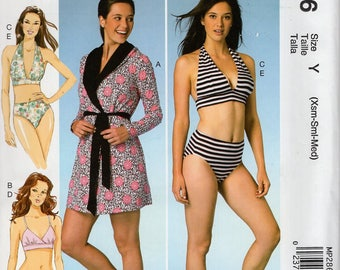 FREE US SHIP McCall's 286 7516 Sewing Pattern Bikini Bathing Suit Cover Up Swimsuit Size 4/14 16/26 Bust 29 30 32 34 36 38 40 42 44 46 48