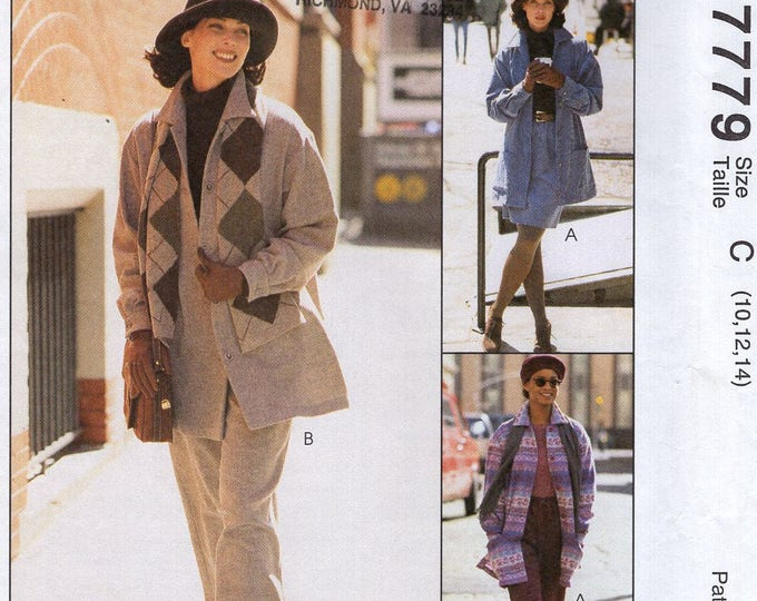 Free Us Ship Sewing Pattern Retro 1990s 90's McCall's 8777 Easy Elastic Waist Pants Coat jacket Skirt Size 8 10 12 14 Bust 31 32 34 36 ff