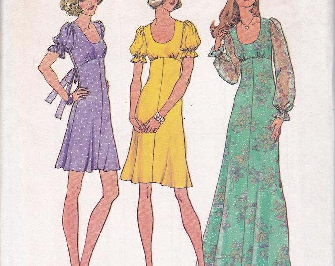 FREE US SHIP Simplicity 6885 Vintage Retro 1970's 70's Sewing Pattern Size 7jp 9 jp Bust 32 33 Junior Petite jp Uncut Dress MiNi Maxi ff