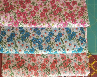 Calico Floral Fabric Set, 9 Different Coordinating Fabrics, 1/2 Yard or Fat Quarter Sets, 100% Quilting Cotton