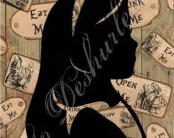"Illustration Alice in Wonderland ""Portrait of Alice"""